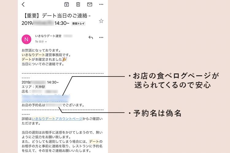 いきなりデートお店メール